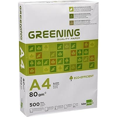 Liderpapel Greening - Papel Fotocopiadora, A4, 80 Gramos, Paquete de 500 Hojas