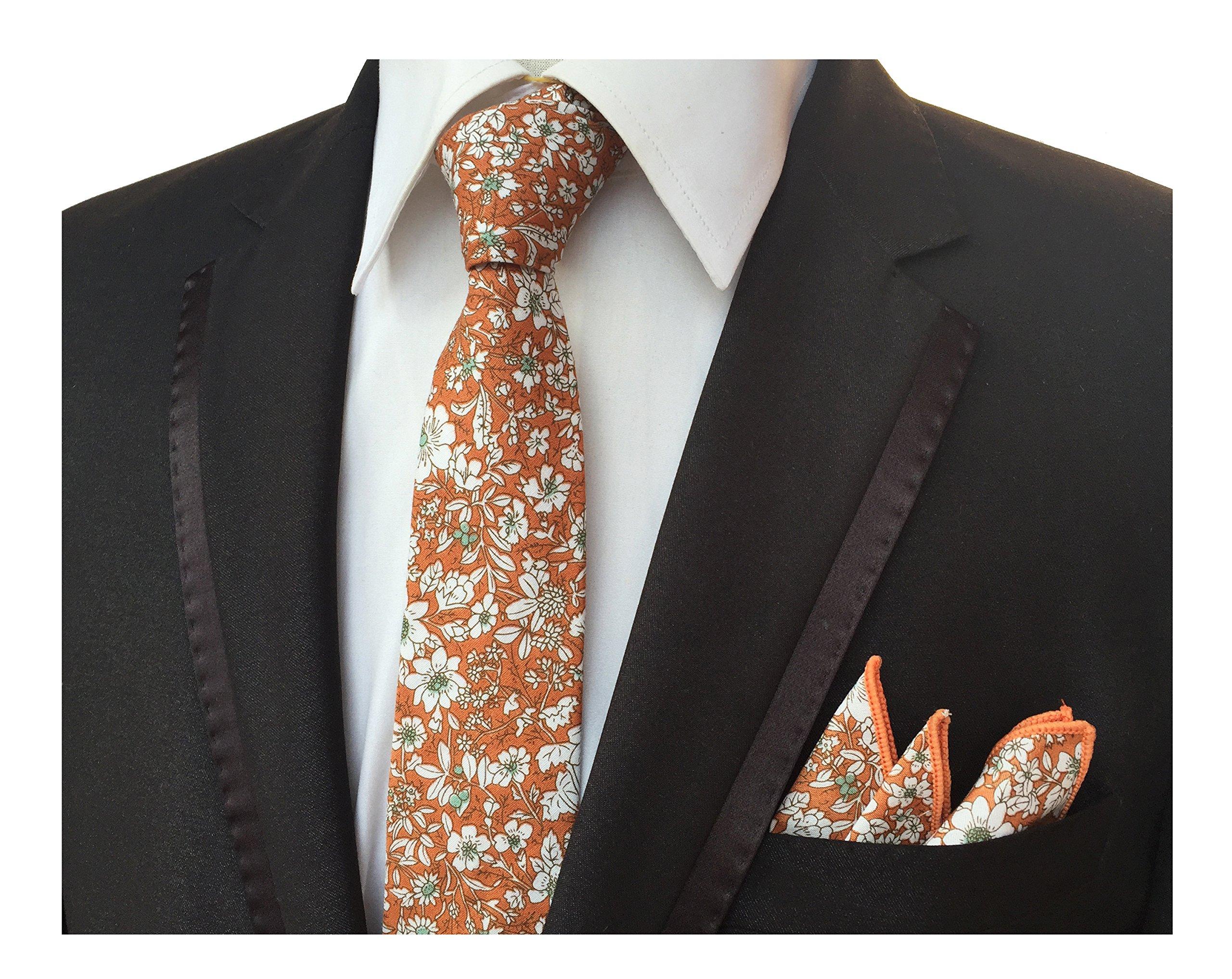 Men's Cotton Printed Floral Necktie,Pocket Square,Lapel Flower Set Skinny Ties by Elfeves