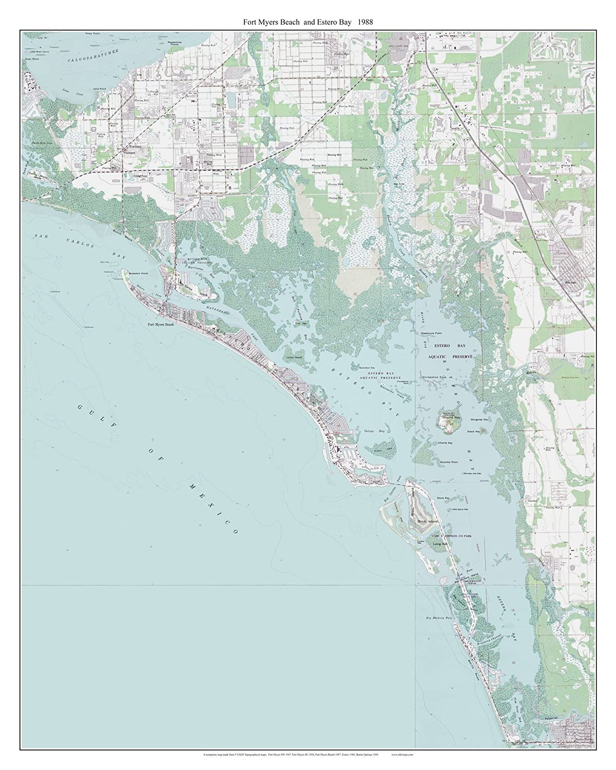 Amazon.com: Fort Myers Beach and Estero Bay, Florida 1988 Topo Map ...