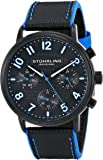 Stuhrling Original Men's Quartz Watch with Black Dial Analogue Display and Black Leather Strap 668.02