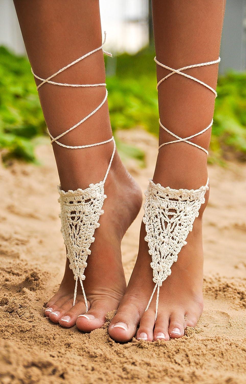 Amazon.com  Crochet Ivory Barefoot Sandals af8913527570