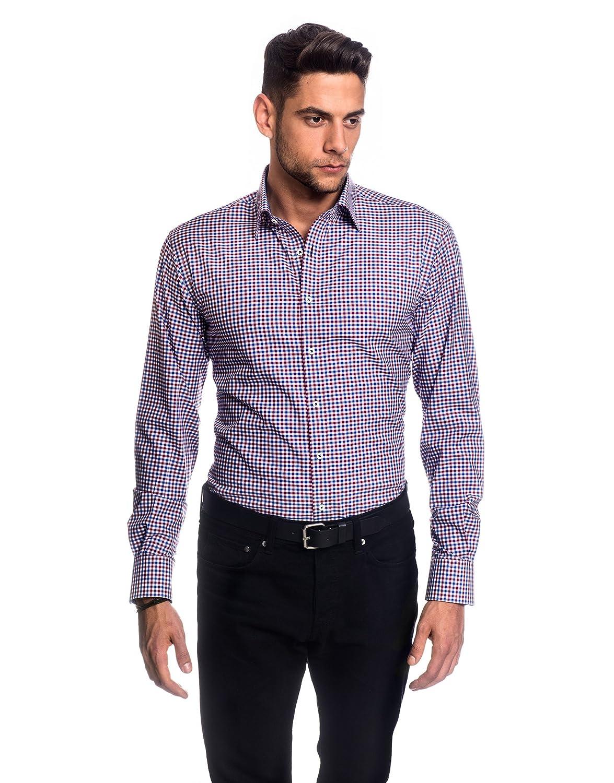 Embraer Camisa de Hombre, Ajustada Entallada (Slim-fit), 100% algodón, Manga-Larga, Cuello Kent, con entredós Interior en Color contrastante, de Cuadros Azul/Vino Tinto 39/40