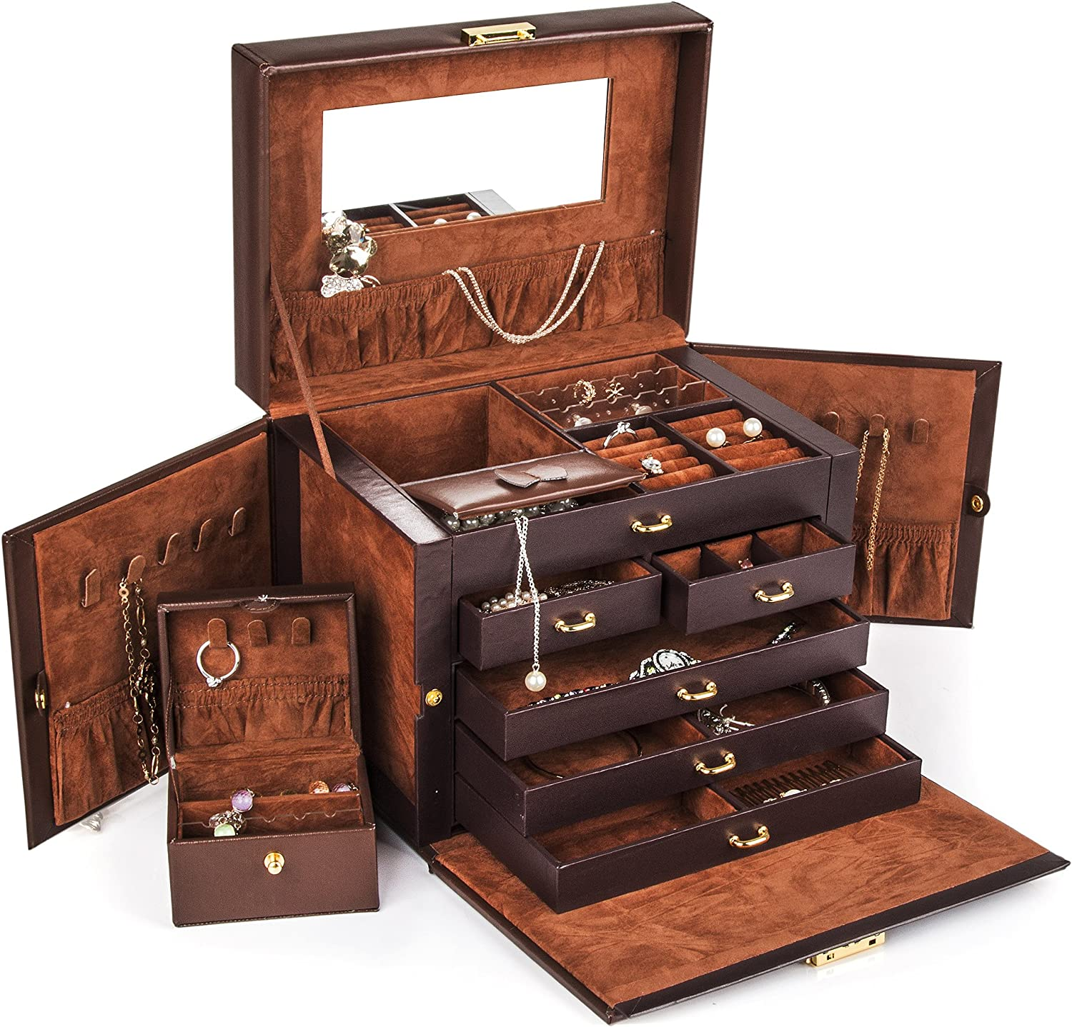 LEATHER JEWELRY BOX CASE STORAGE ORGANIZER WITH TRAVEL CASE AND LOCK