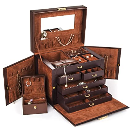 Amazoncom Shining Image Brown LEATHER JEWELRY BOX CASE STORAGE