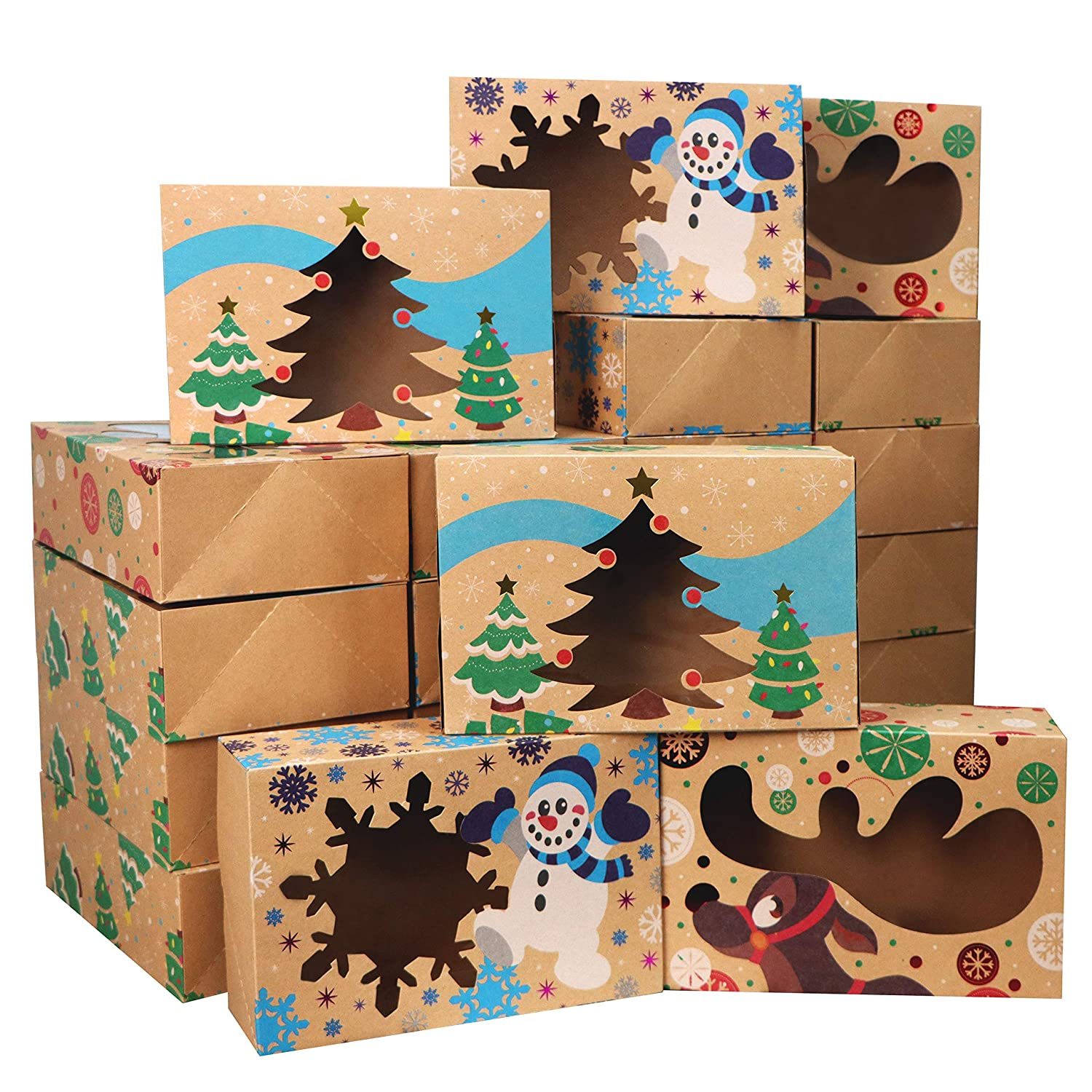 24 Christmas Bakery Treat Boxes for Doughnut and Cookie, Brown Kraft Cookie Boxes for Holiday Pastries, Cupcakes, Brownies, Gift Giving