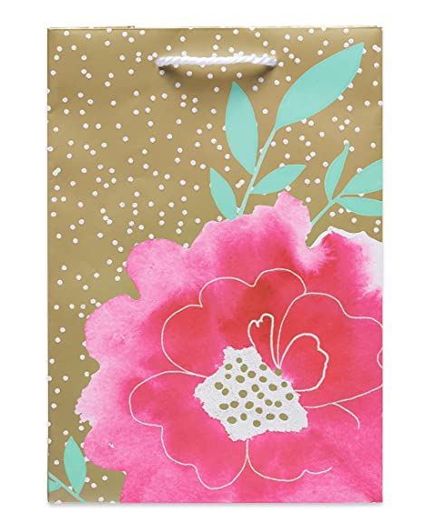 Amazon american greetings glitter decorative paper watercolor american greetings glitter decorative paper watercolor flower on gold wrapping paper and gift bag m4hsunfo