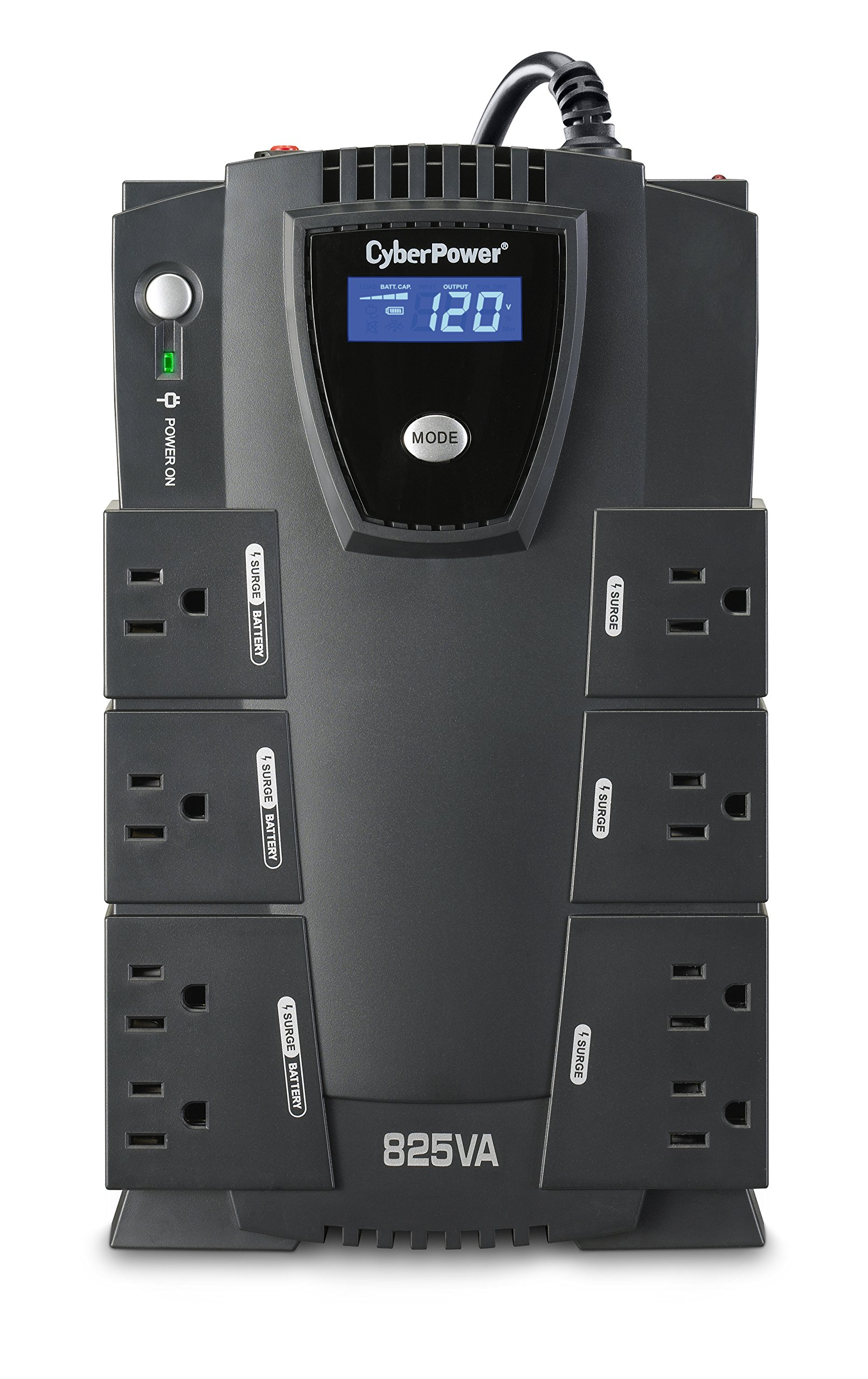 CyberPower CP825LCD Intelligent LCD UPS System, 825VA/450W, 8 Outlets, Compact by CyberPower