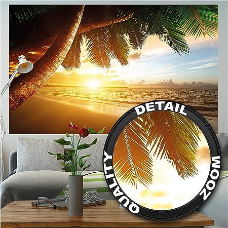 210x140 cm Photo papier peint de plage d/écoration de peinture murale de plage de r/êve des Cara/ïbes nature de la baie de Paradis /île de palme tropicale affiche de photos de d/écoration murale GREAT ART