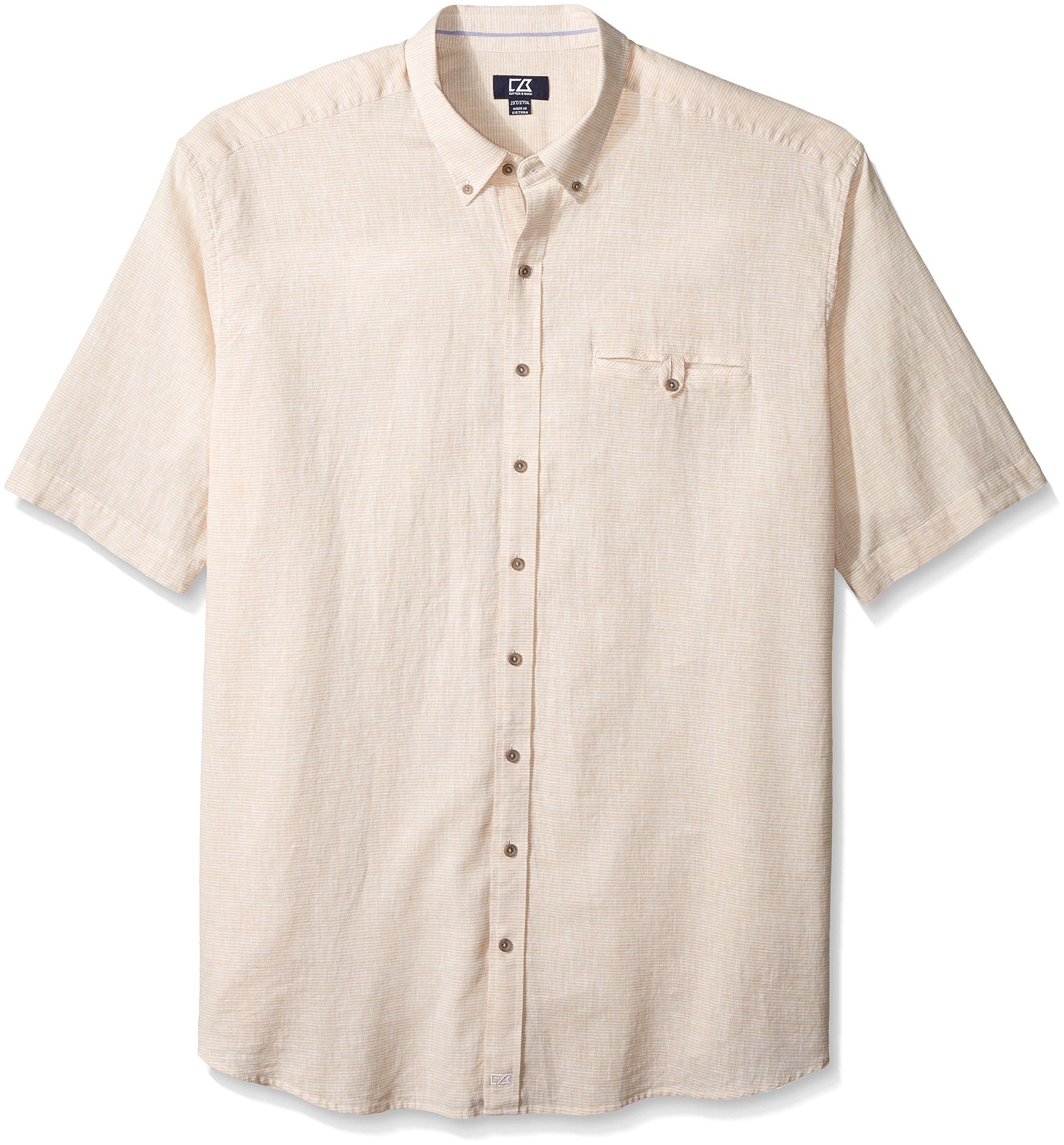 Cutter & Buck Men's Big and Tall Short Sleeve Cove Stripe Shirt, Khaki, 3X/Big