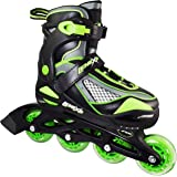 Inline Skates for Girls and Boys with Adjustable Sizing | Lenexa Viper Kids in-line roller skate blades | Comfortable fit | Safety non-slip wheels | Made for Fun (Black/Green)