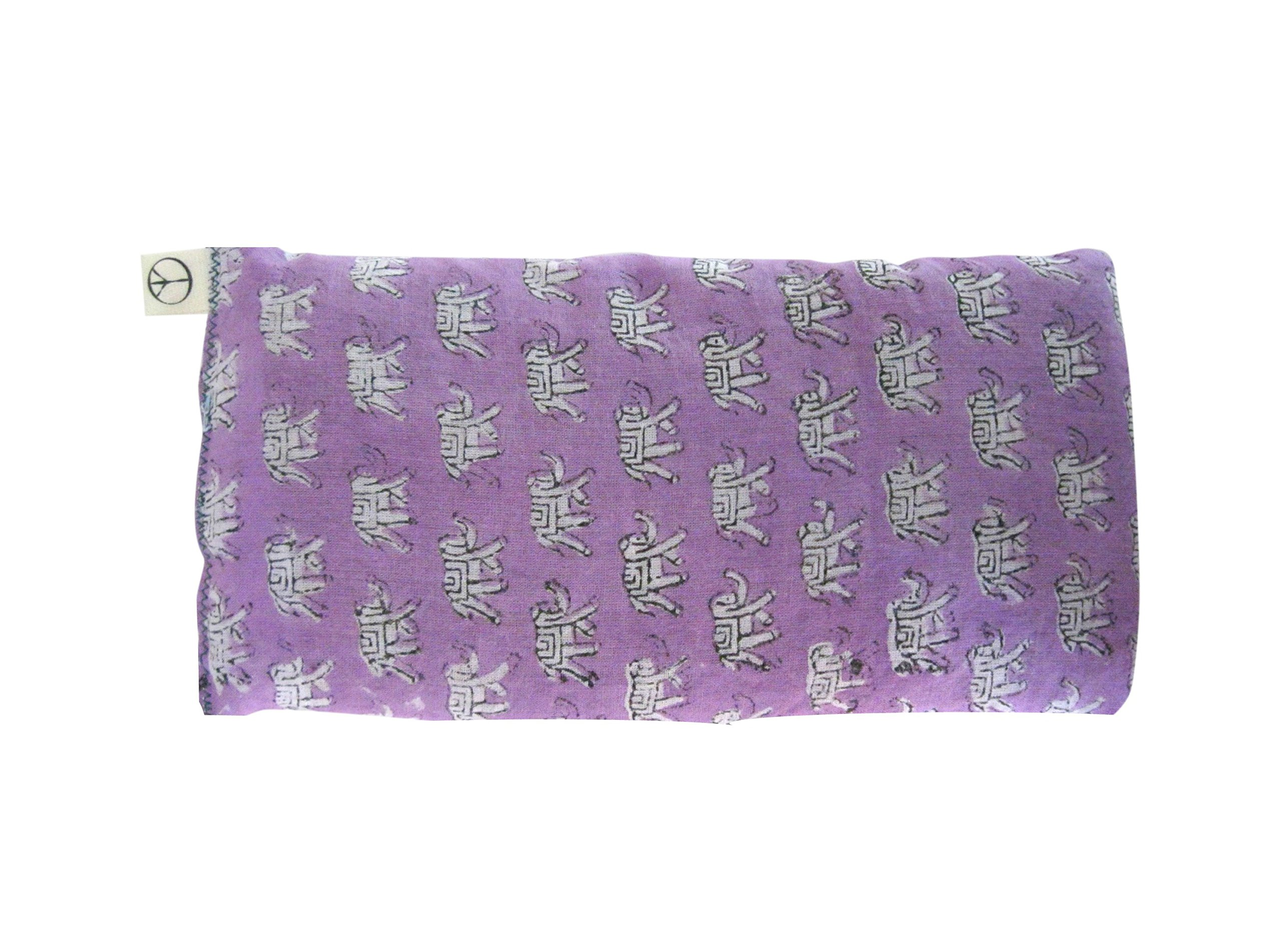 Scented Eye Pillows - Pack of (4) - Soft Cotton 4 x 8.5 - Organic Lavender Flax Seed - hand block print India - pink purple gray teal green elephant by Peacegoods (Image #5)