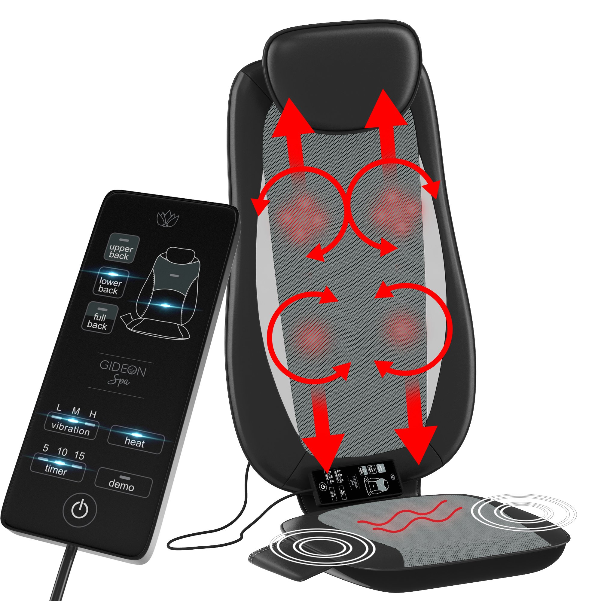 Gideon Six-Program Shiatsu Massager Customizable Massaging Cushion with Heat / Shiatsu 3D Deep Kneading, Percussion and Vibrating - Full Back, Upper back, Lower Back or Pinpoint Precise Massage Spot