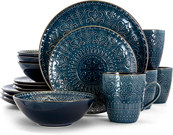 Elama Contemporary Round Embossed Stoneware Dinnerware Dish Set 16 Piece White