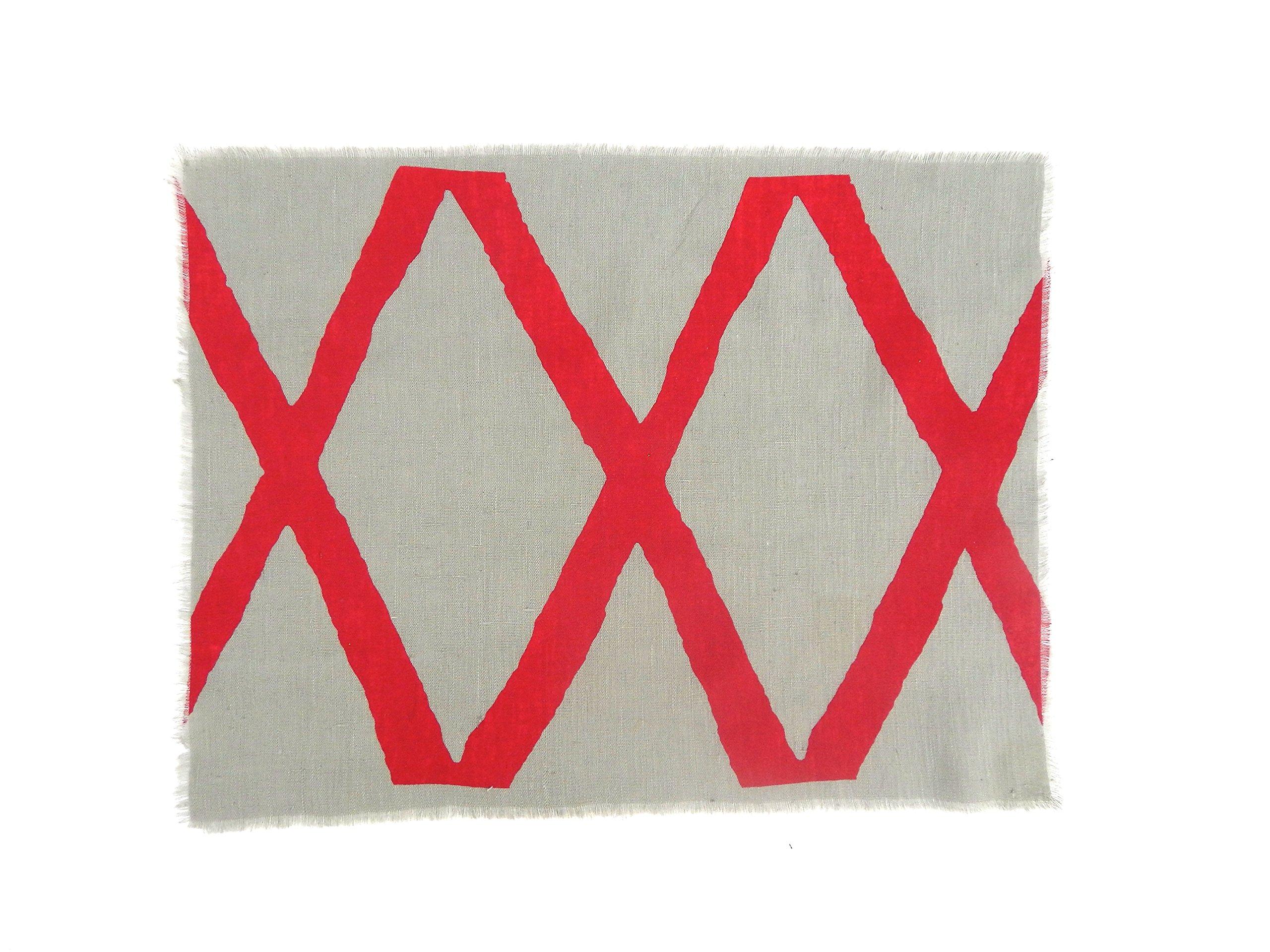 Gitika Goyal Home Windows Collection Cotton Khadi Grey Mat 17x12 Diamond Design, Red Hand Screen Print