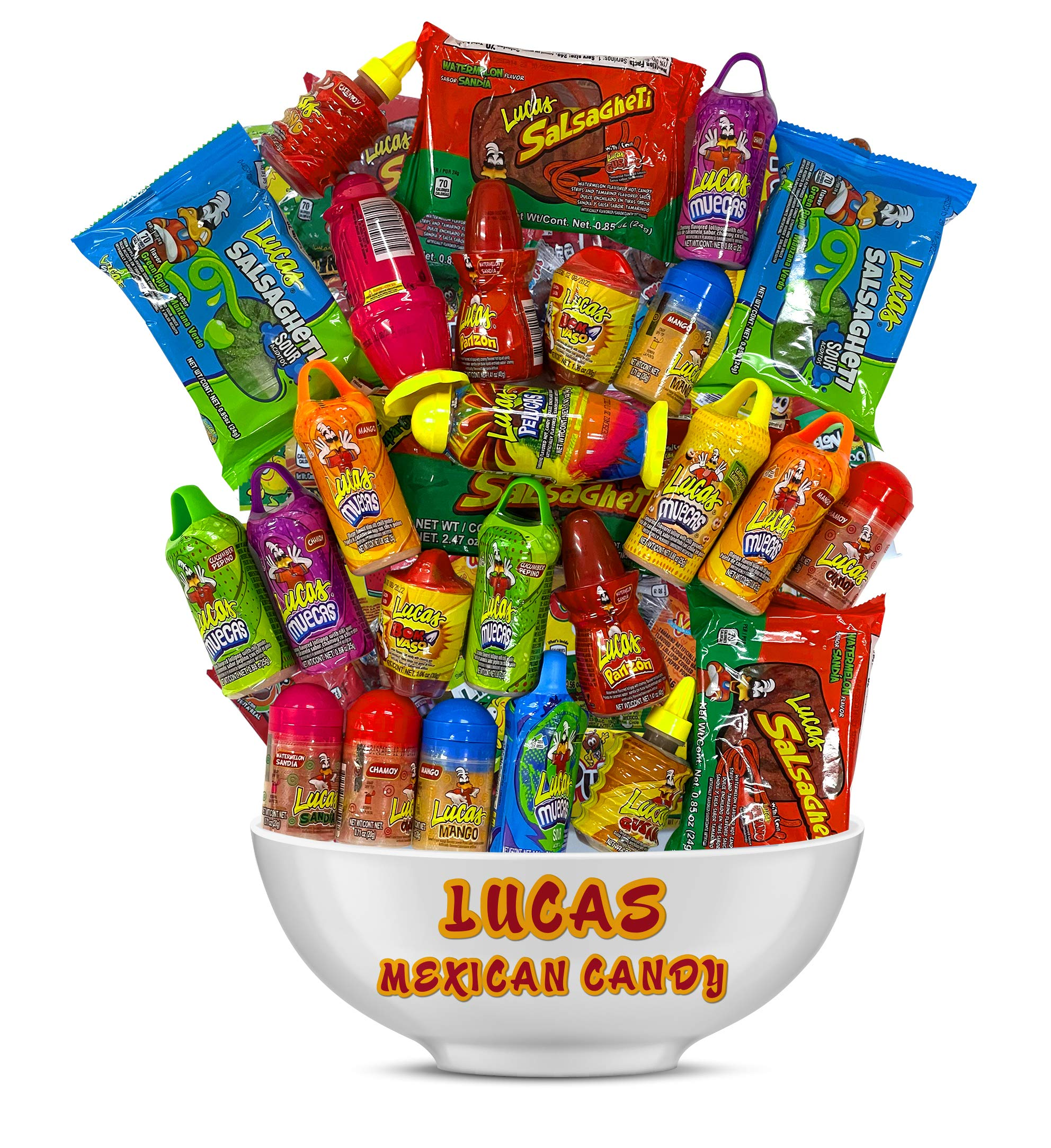 Lucas Mexican Candy Mix (20 Count) Variety of Sour, Sweet, Spicy, Include Pelucas, Baby Powder, Muecas Chamoy, Watermelon, Mango, Gusano, Salsagheti, Bomvaso, Skwinkles Rellenos by Look-On