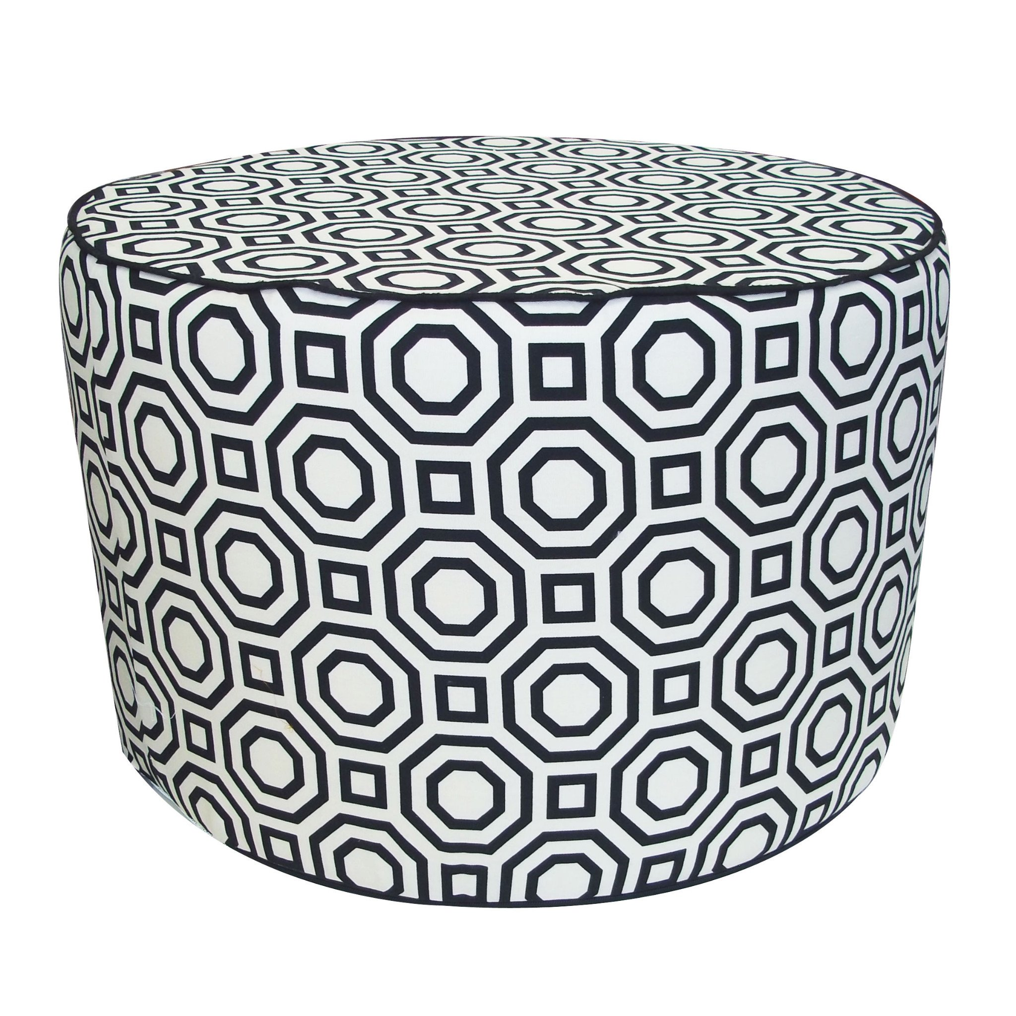 Jiti Labyrinth Round Pouf Cotton Ottoman, 24 by 24 by 15-Inch, White