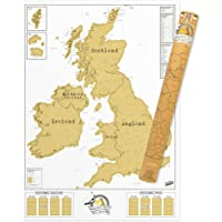 UK Scratch Map – England, Scotland, Ireland Scratch Off Map – Unique & Colourful Scratch Poster – Amazing Map Décor  – Makes an Ideal Travel Gift – White & Gold