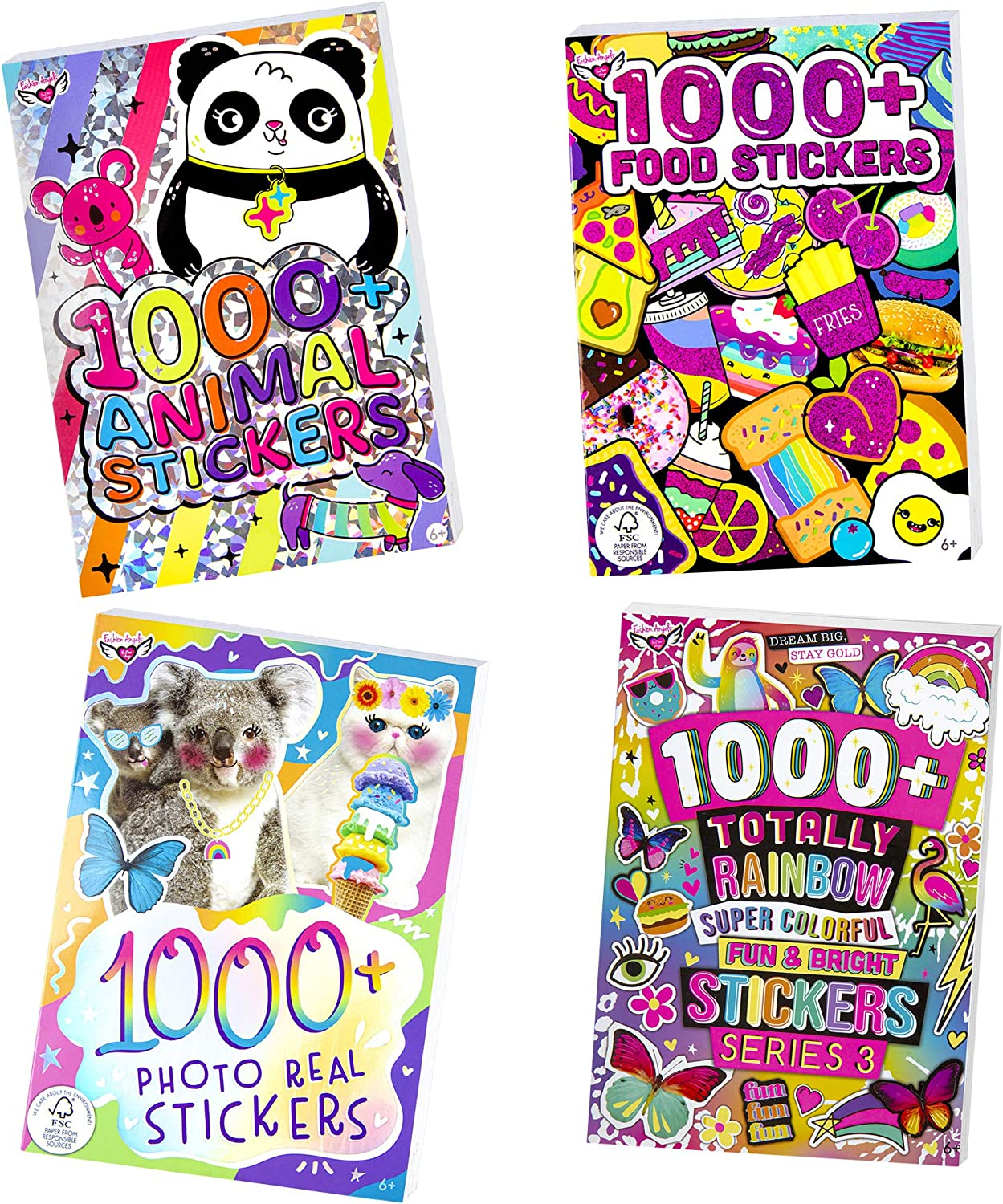 Fashion Angels Over 4000 Stickers-4 Book Set, Sticker Book for Kids Ages 6 and up, Colorful and Cute Animal, Food, Photo Real Themed Stickers, Amazon Exclusive