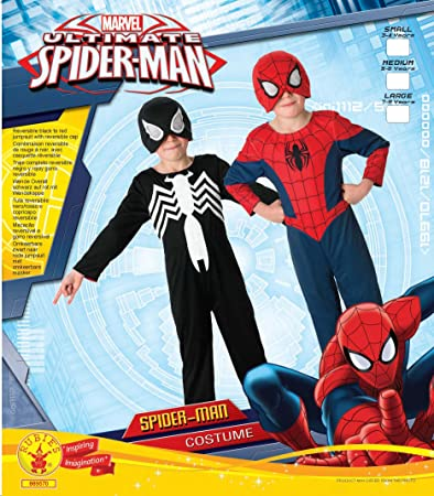 Rubies 2 en 1 Último Negro y rojo traje de Spiderman. Grandes 7-8 años