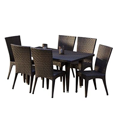 Christopher Knight Home 232464 Brooklyn 7-Pieces Outdoor Wicker Dining Set, Brown