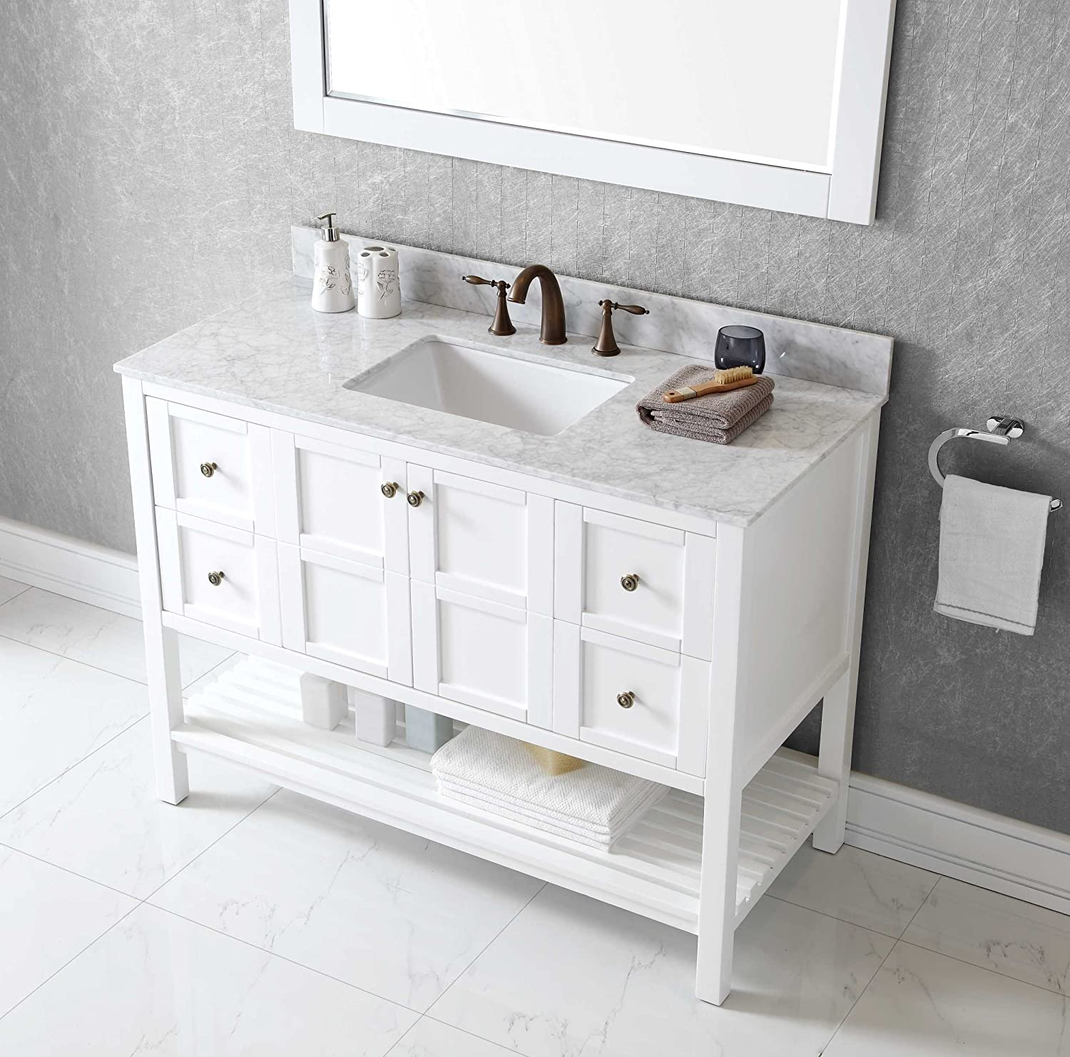 "Virtu ES WMSQ WH Winterfell Single Bathroom Vanity Cabinet Set 48"" White Amazon"