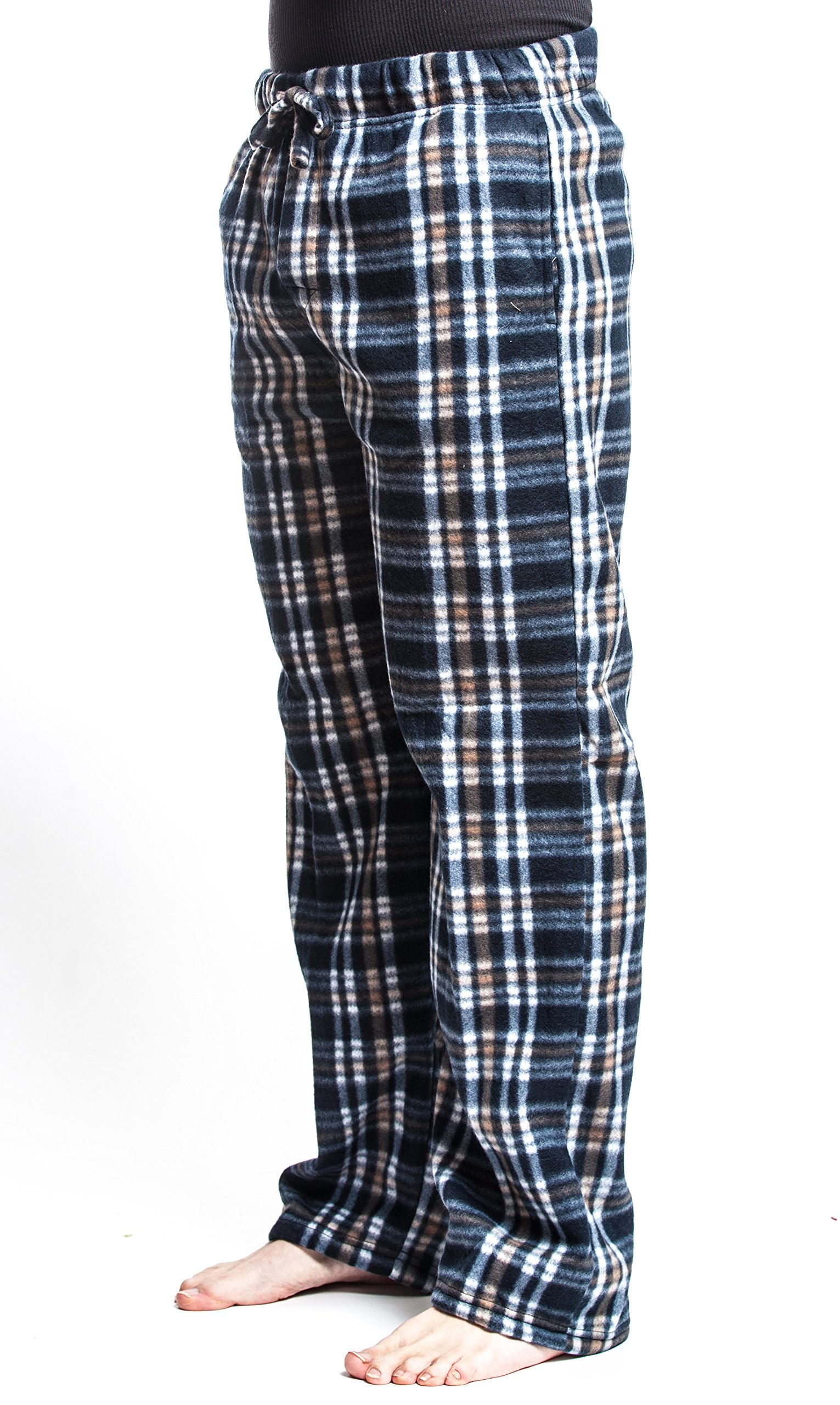 Men's Flannel Fleece Brush Pajama Sleep & Lounge Pants (Medium, Black) …
