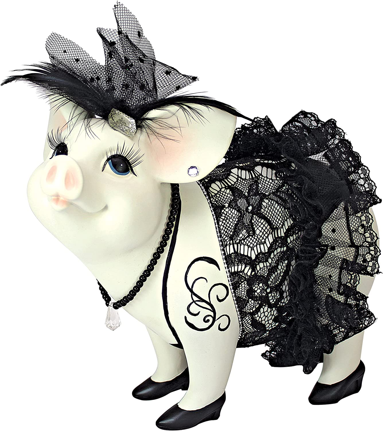 Design Toscano QS2810 Lace and Lard Madame Pig Statue, Full Color Finish