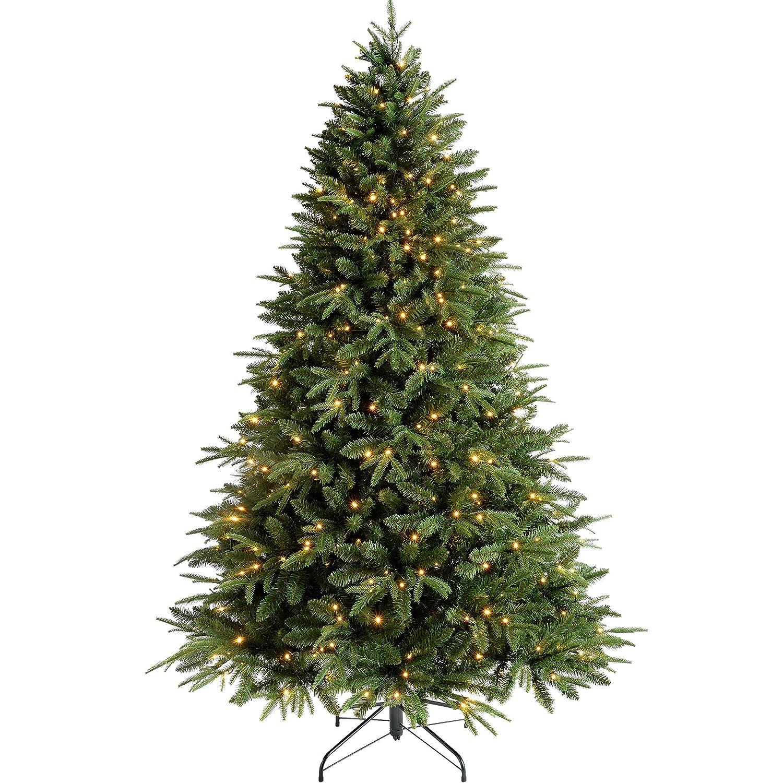 WeRChristmas Pre-Lit Windsor Fir Multi-Function Christmas Tree with 300 Warm White LED Lights - 5 feet/1.5 m, Green WRC-7460