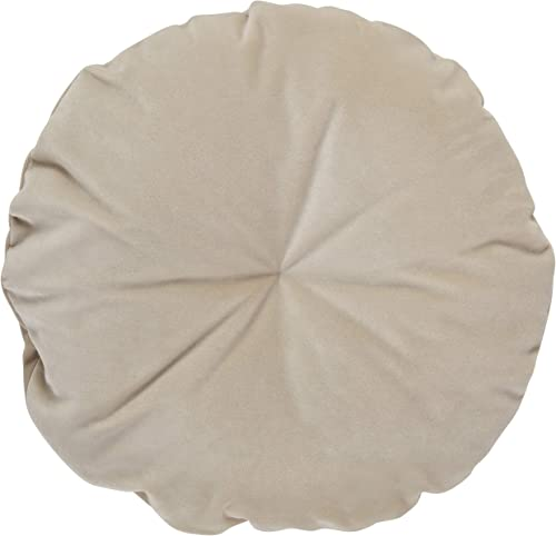 Amazon Brand Rivet Mid-Century Round Velvet Throw Pillow – 16 x 16 Inch, Parchment