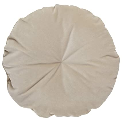 Rivet Mid-Century Round Velvet Throw Pillow - 16 x 16 Inch, Parchment
