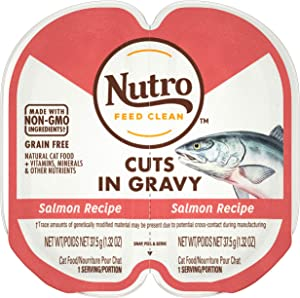 NUTRO Grain Free Natural Soft Wet Cat Food Cuts in Gravy Salmon Recipe, (24) 2.6 oz. PERFECT PORTIONS Twin-Pack Trays