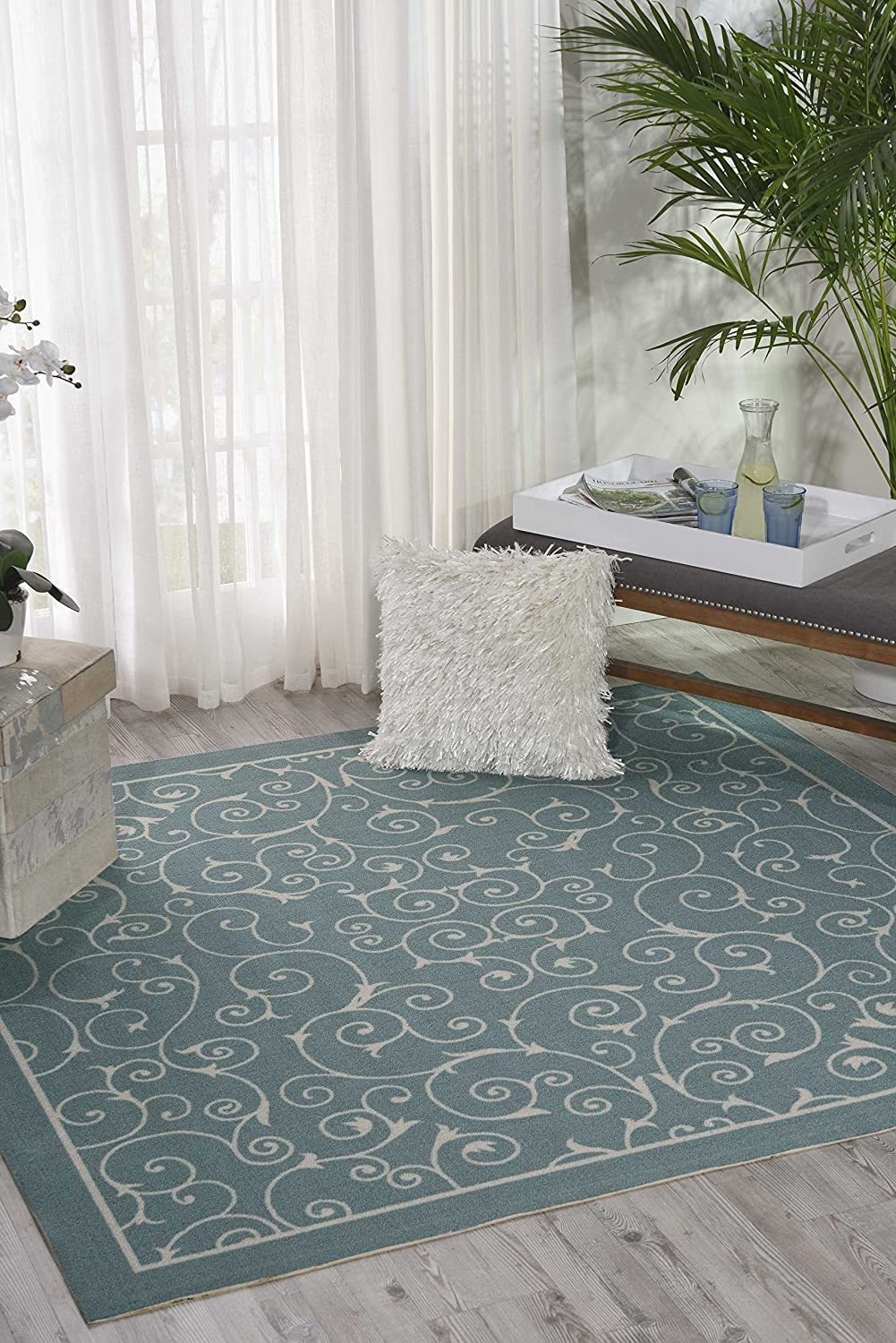 Nourison Home & Garden Light Blue Indoor/Outdoor Area Rug 6 Feet 6 Inches by 6 Feet 6 Inches, 6'6