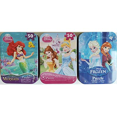 3 Collectible Girls Mini Jigsaw Puzzles in Travel Tin Cases: Disney Kids The Tree Princesses, The Little Mermaid, Frozen Gift Set Bundle (48/50 Pieces): Home & Kitchen