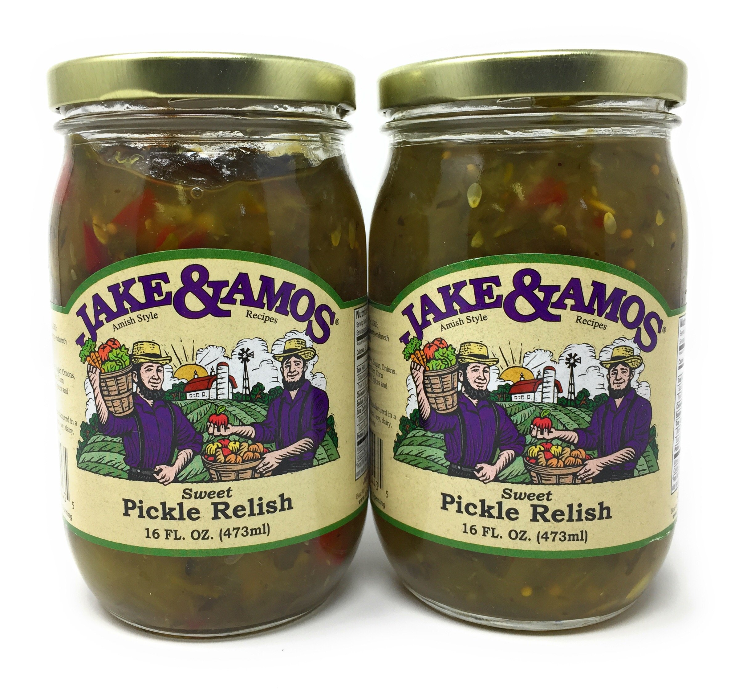 Jake & Amos Sweet Pickle Relish / 2 - 16 Oz. Jars