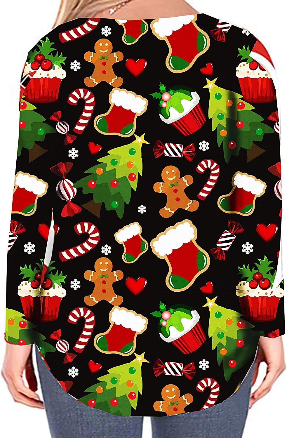 PESION Womens Plus Size Tops Christmas Shirts Casual Tee Tunic Shirts Blouses