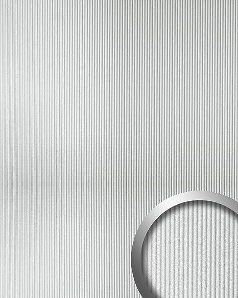 Revestimiento mural autoadhesivo con ranuras verticales S WallFace 11322 WAVE plata mate metalic 2,60