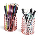 CAXXA 2 PK - Wire Pencil Holder, Makeup Brush Holder, Desktop Organizer, Rose Gold