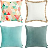 """MONDAY MOOSE Decorative Throw Pillow Covers Cushion Cases, Set of 4 (18"""" x 18"""") Nordic Modern Boho Designs, Solid and Geometric Pattern Style Mix and Match for Home Decor, Pillow Inserts Not Included"""