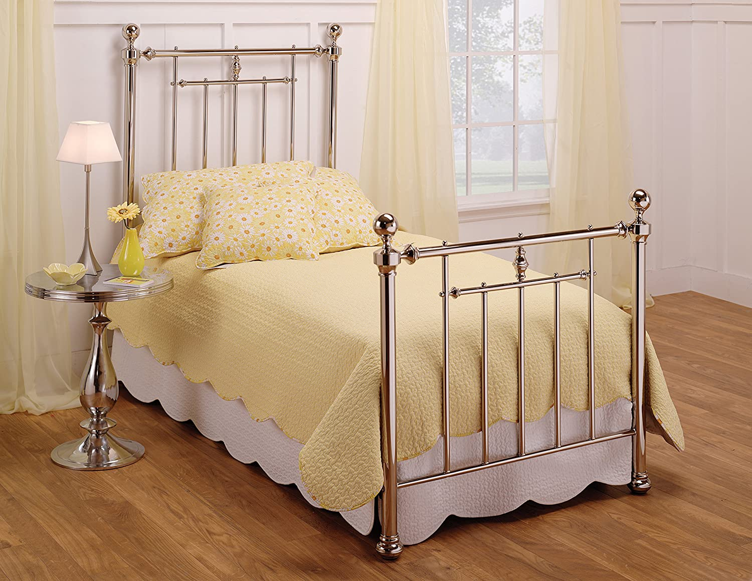 Amazon.com   Hillsdale Furniture 1251BQR Holland Bed Set With Rails, Queen,  Shiny Nickel   Headboards