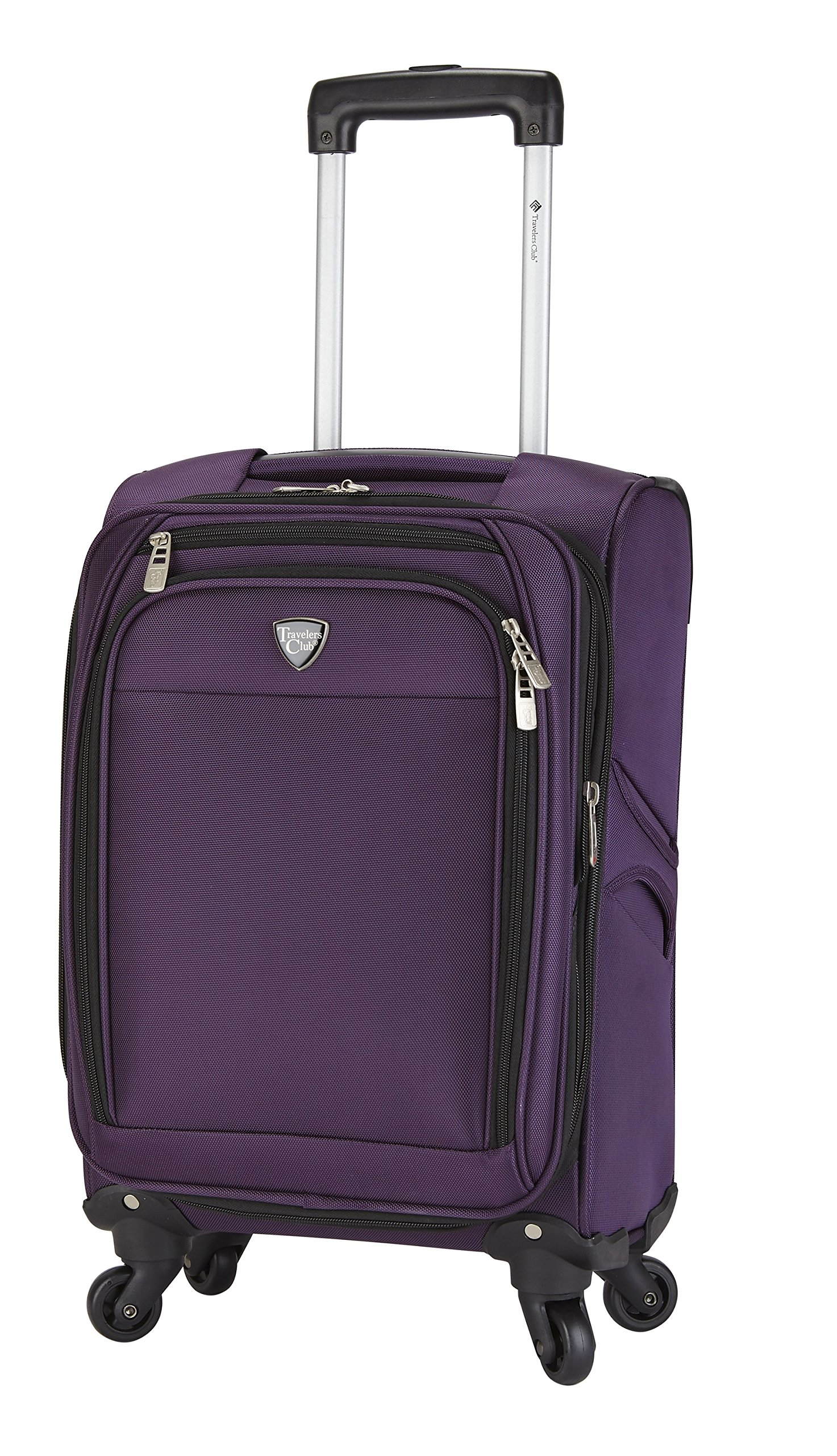 Travelers Club 18'' Carry-On Spinner Luggage Constructed with Top Durable Fabric, Purple Color Option