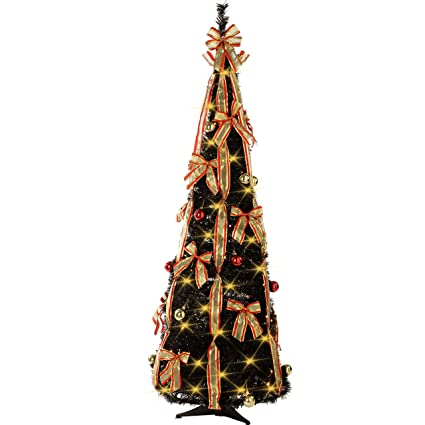 Werchristmas 5 Ft Pre Lit Pop Up Christmas Tree With Ribbon And