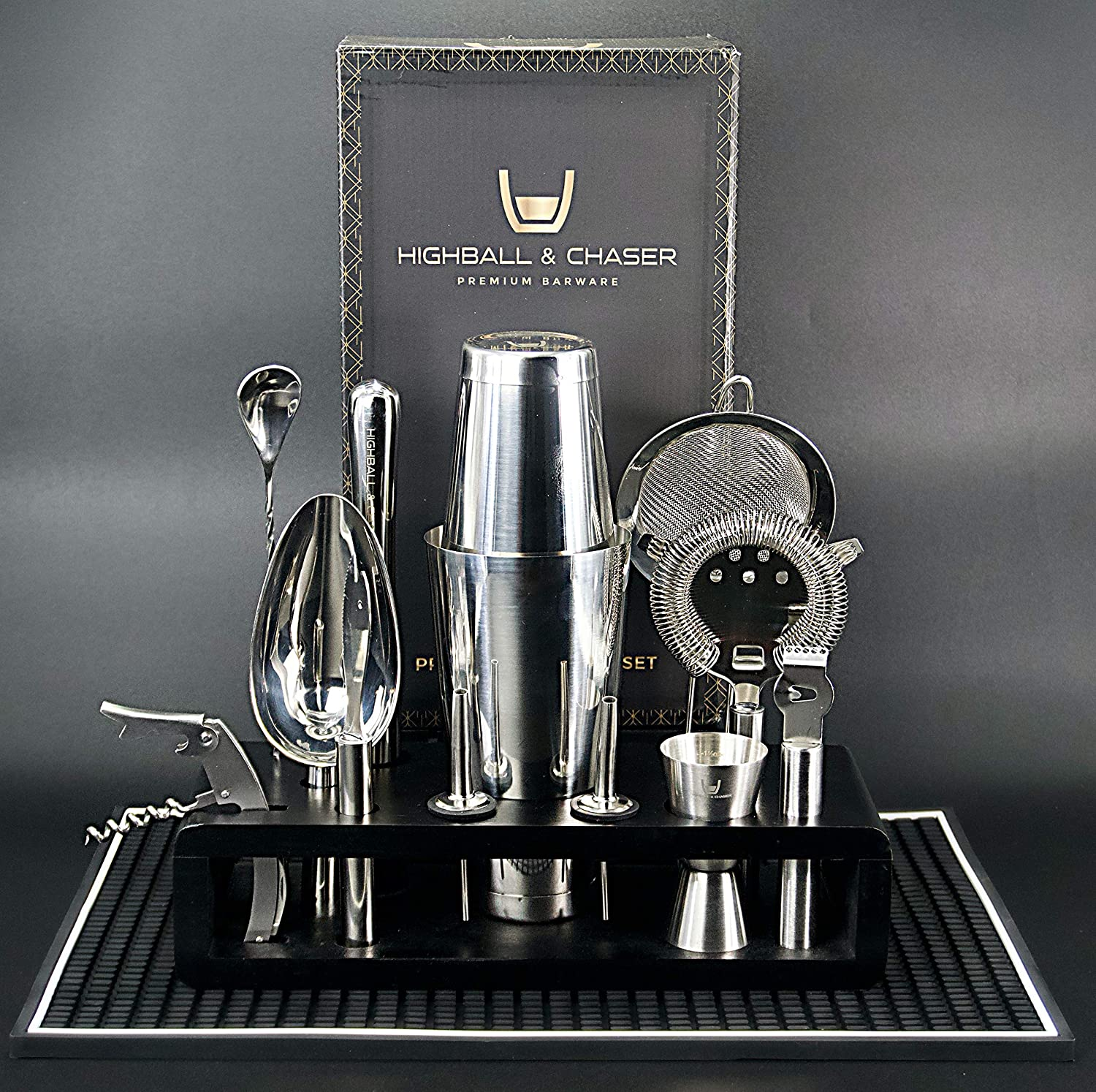 Highball /& Chaser Bartender Kit with Espresso Bamboo Stand Beautiful Cocktail Shaker Bar Set with Highest Quality Bar Tools//Bar Accessories Stainless Steel Boston Shaker Bartender Kit with Stand