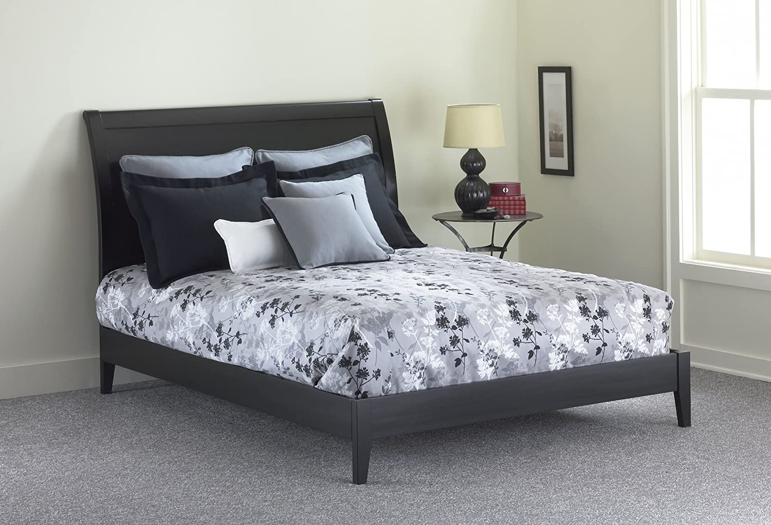 amazoncom java platform bed with wood frame and sleigh headboard blackfinish queen kitchen  dining. amazoncom java platform bed with wood frame and sleigh headboard