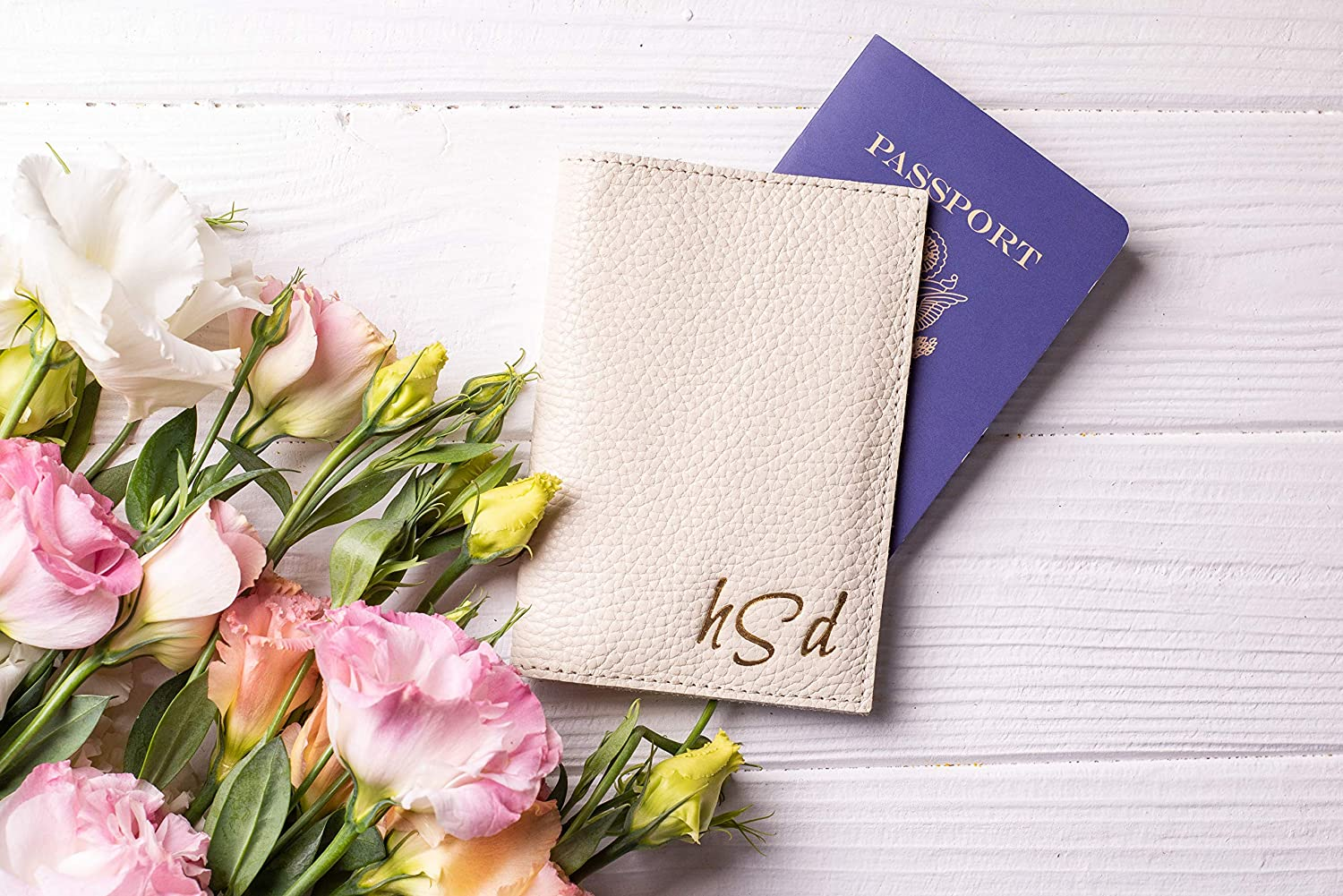 Customized traveller gift in 72 colors of the leather Ivory ersonalized passport cover Passport wallet leather
