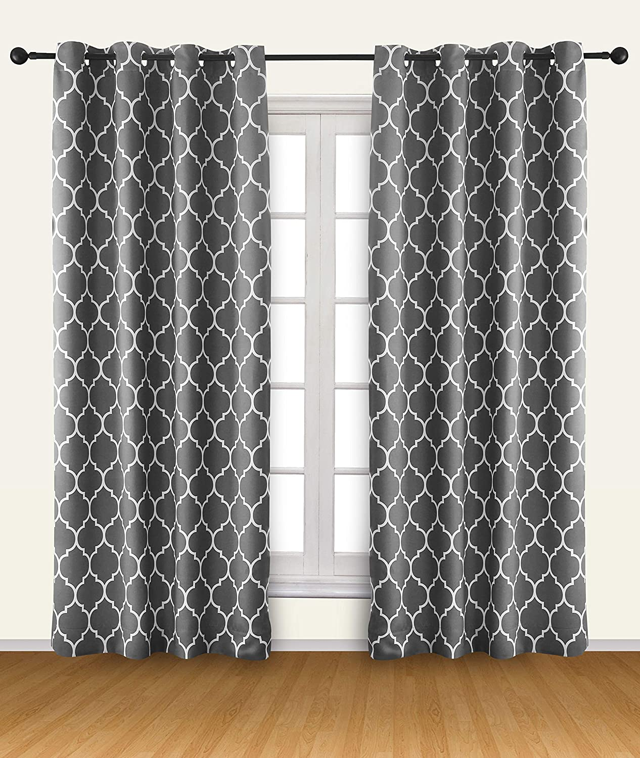 Utopia Bedding 2 Panels Grommet Printed Blackout Curtains, Thermal Insulated Curtains for Bedroom