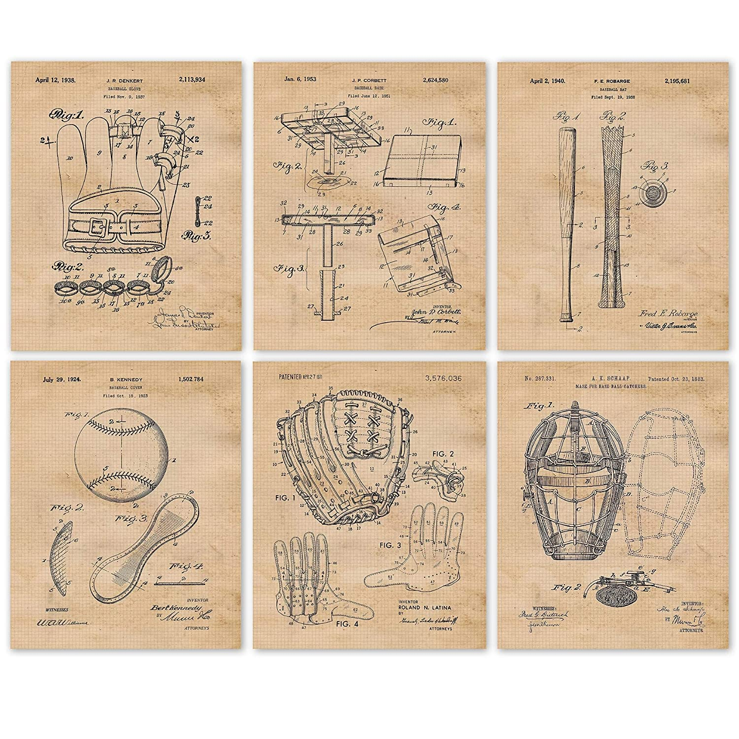 Vintage Baseball Patent Poster Prints, Set of 6 (8x10) Unframed Photos, Great Wall Art Decor Gifts Under 20 for Home, Office, Garage, Gym, College, Man Cave, Student, Teacher, Coach, Sports & MLB Fan