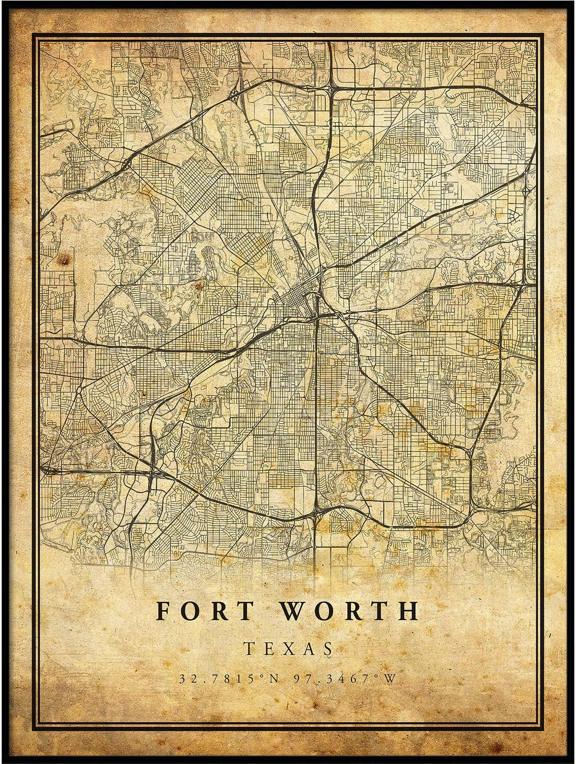 Fort Worth map Vintage Style Poster Print | Old City Artwork Prints | Antique Style Home Decor | Texas Wall Art Gift | Vintage map Reprint 24x36