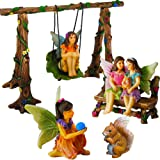 Fairy Garden Best Friends Day Miniature Swing Set of 6 pcs, Hand Painted Figurines & Accessories, Kit For Outdoor or House Decor, By Mood Lab
