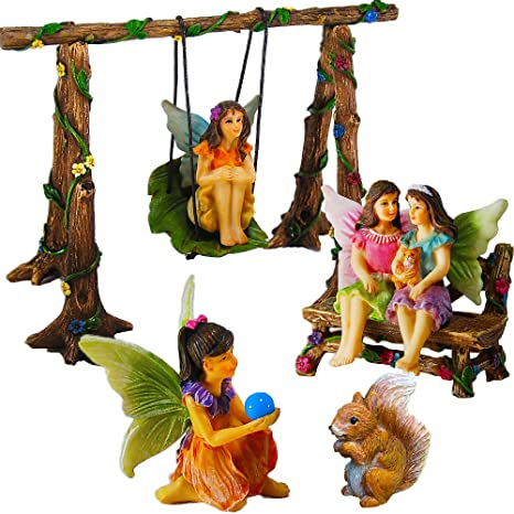 Mood Lab Fairy Garden   Accessories Kit With Miniature Figurines   Hand  Painted Swing Set Of