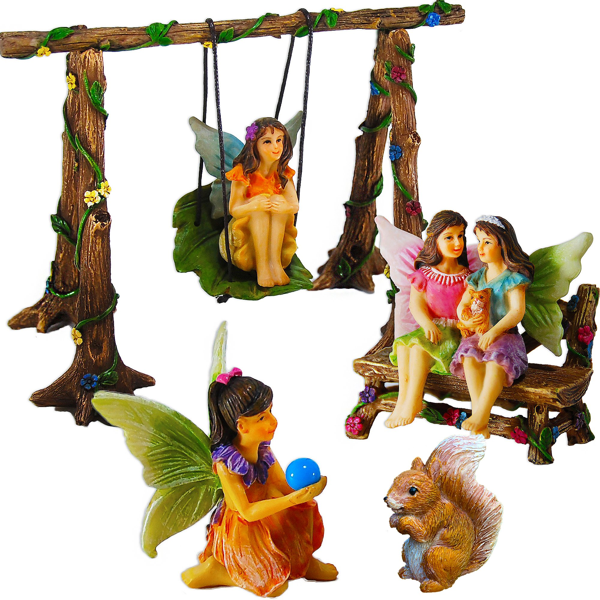 Mood Lab Fairy Garden - Accessories Kit Miniature Figurines - Hand Painted Swing Set of 6 pcs Outdoor House Decor
